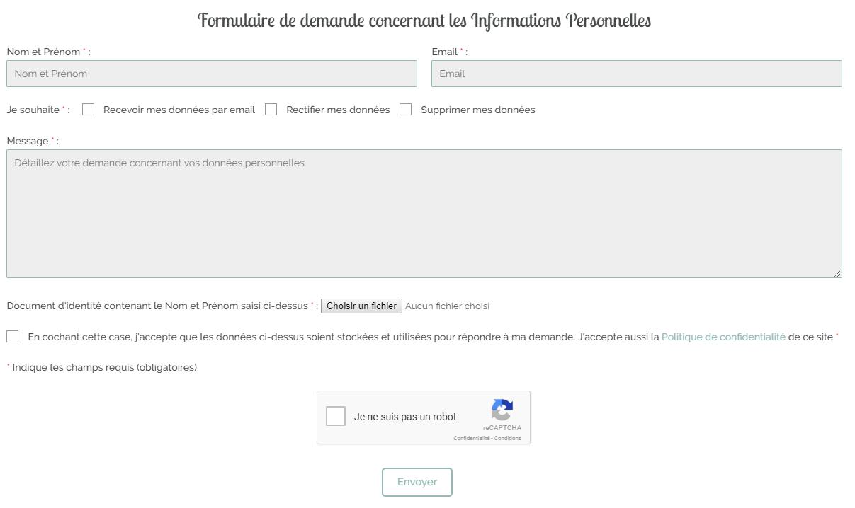 Formulaire de demande concernant les informations personnelles