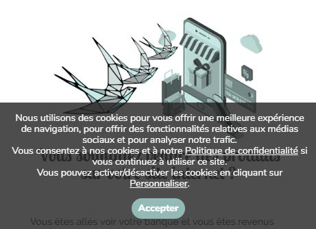 Bandeau acceptation de la Politique de confidentialité et des cookies