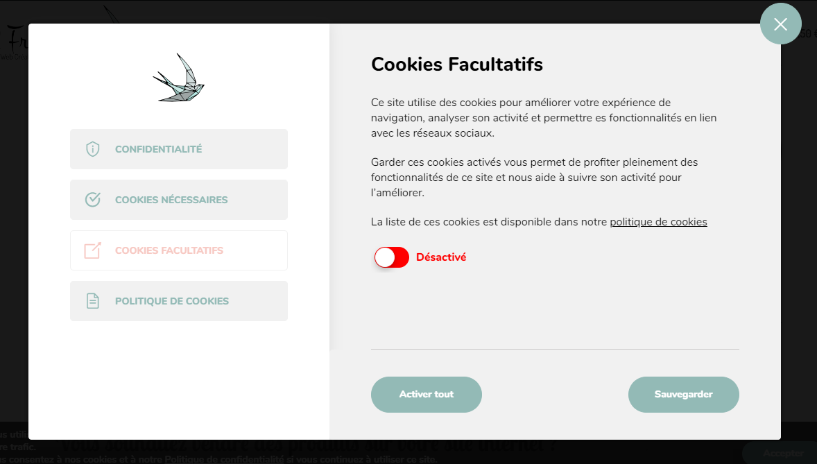 Activation/Désactivation des cookies